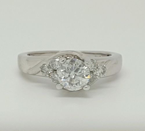 1.01 Ct Round Diamond Engagement Ring 14k White Gold Natural Not Enhanced