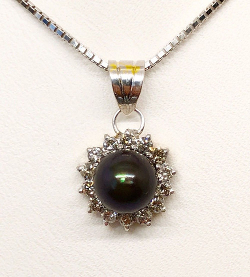 14K White Gold Natural Diamond and Tahitian Black Pearl Pendant & Box Chain