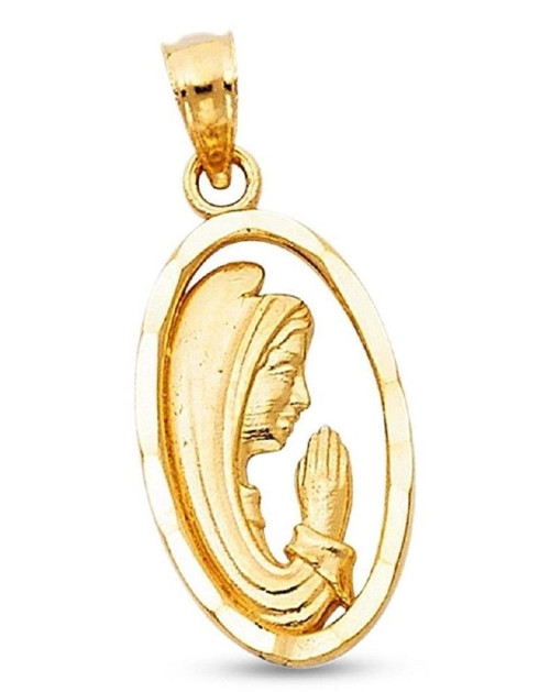 14K Yellow Gold Praying Mother Virgin Mary Guadalupe Oval Pendant Charm