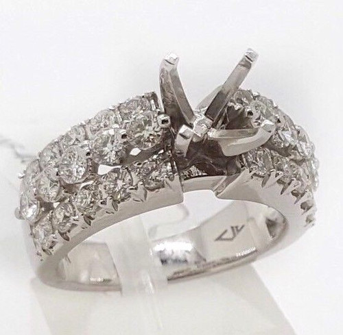 1.06 Ct Diamond 14k White Gold Engagement Ring Semi Mount Round Center 6.5 MM