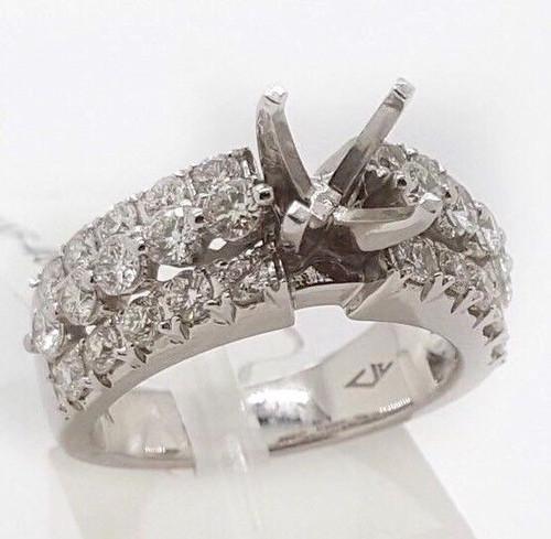 1.06 Ct Diamond 14k White Gold Engagement Ring Semi Mount Round Center 6.5 MM
