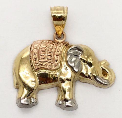 14K Solid Multi Color Gold Elephant Charm Pendant 23 MM Men's, Women's