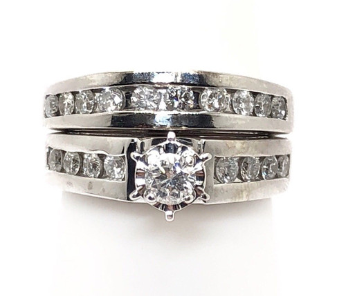 0.92Ct Natural Diamond 14k White Gold Bridal Engagement Ring& Wedding Band Size7
