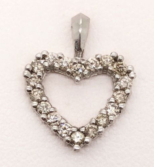 0.50 Ct Natural Diamond 14k Solid White Gold Heart Women's Charm Pendant