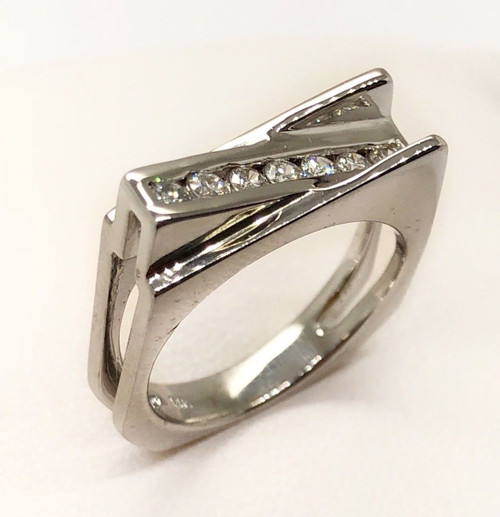 14K Solid White Gold 0.35 Ct Natural Diamond Ring SI1, G Unisex Size 6.5
