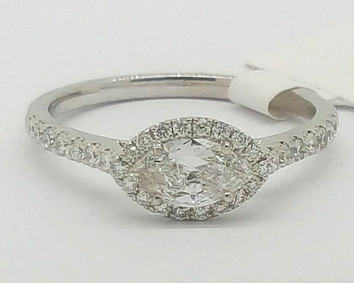 0.83 Ct Not Enhanced Marquise Diamond Engagement Ring 14K White Gold Size 6.75