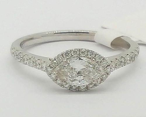 0.83 Ct Not Enhanced Marquise Diamond Engagement Ring 14K White Gold Size 6.75