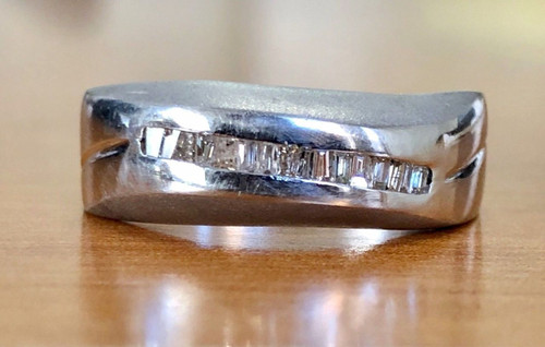 Men's 18k White Gold Natural Baguette Diamond Ring Matte Finished 7 MM Size 10