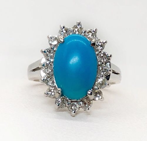 Vintage 14k White Gold Diamond & Turquoise Cluster Ring Size 6.5 Womens Ring