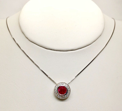 14k White Gold 1.67 TCW Diamond & Ruby Halo Pendant & Chain Necklace, SI1-2,G-H