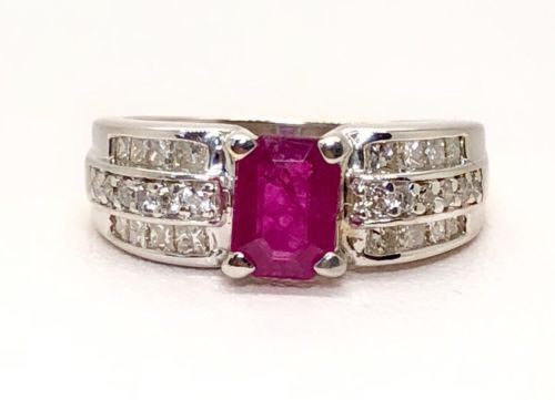 14k White Gold 2.05 TCW Natural Diamond & Emerald Cut Red Ruby Ring Size 7