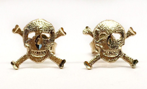 14k Solid Yellow Gold Skull Punk Rock Gothic Halloween Stud Earrings 11 MM