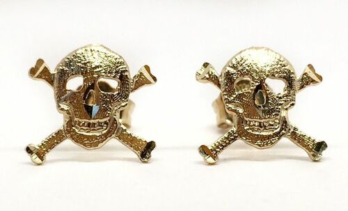 14k Solid Yellow Gold Skull Punk Rock Gothic Halloween Stud Earrings 11 MM