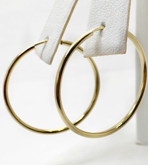 14K Yellow Gold 28 MM Plain Shiny Hoop Earrings Width 1.5 MM