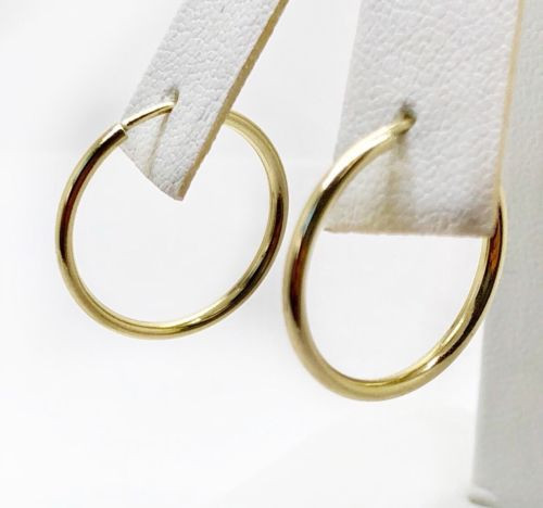 14K Yellow Gold 19 MM Plain Shiny Hoop Earrings Width 1.5 MM