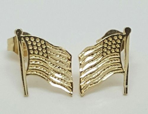 14k Solid Yellow Gold American Flag Stud Earrings Push Back 10MM USA Unisex