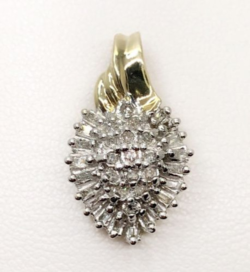 0.50Ct Natural Baguette & Round Diamond 10K Yellow & White Gold Cluster Pendant