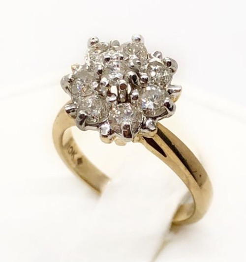 0.90 Ct Round Diamond 10k Two Tone Gold Cluster Flower Ring