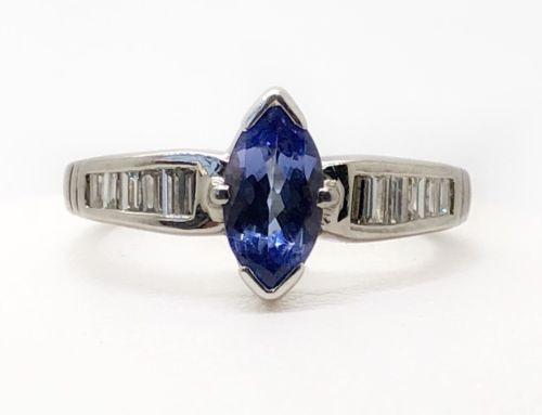 14K White Gold 1.50 Ct Diamond & Marquise Tanzanite Ring Size 8