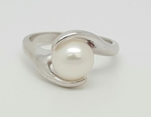 14K White Gold Pearl Ring Size 6.25 Womens Pearl Ring Solitaire Bypass 4.3 Grams