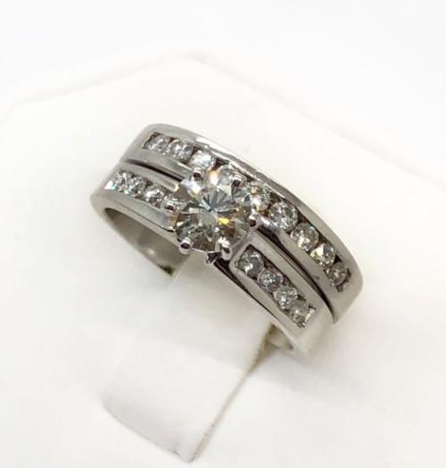 14k White Gold 1.21 Ct Round Diamond Engagement Ring & Wedding Band Bridal Set