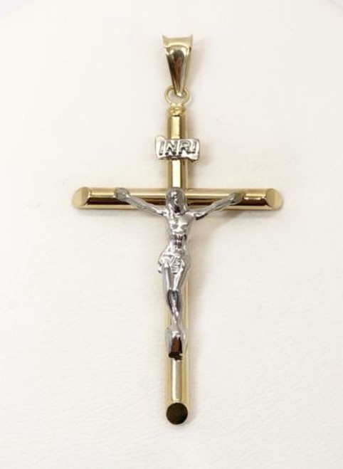 14K Yellow & White Gold Jesus Christ Cross Crucifix Pendant Men/Women 1.69""