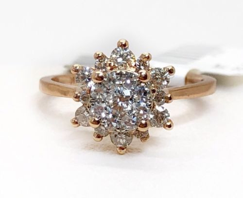 14k Solid Rose Gold 0.50 Ct Natural Round Diamond Halo Engagement Ring Size 4.75