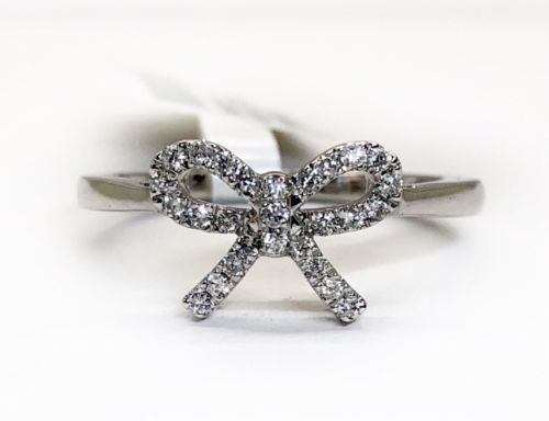 14k White Gold 0.16 Ct Natural Diamond Tie Bow Style Ribbon Womens Diamond Ring