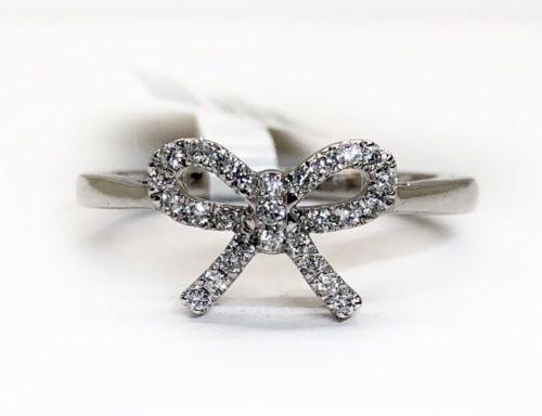 14k White Gold 0.16 Ct Natural Diamond Tie Bow Style Ribbon Womens Diamond Ring