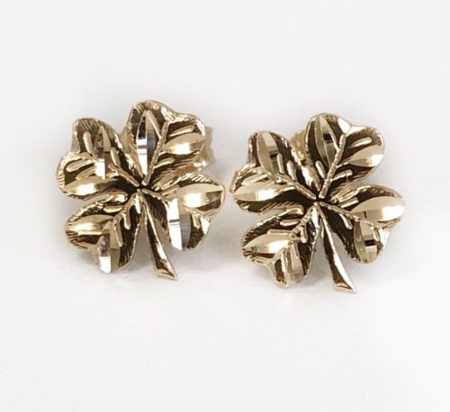 14k Solid Yellow Gold Clover Flower Leaf Stud Earrings Lucky Clover 9 MM Unisex