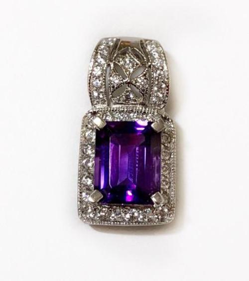 14K Solid White Gold CZ & Purple Amethyst Cluster Womens Pendant Emerald Cut