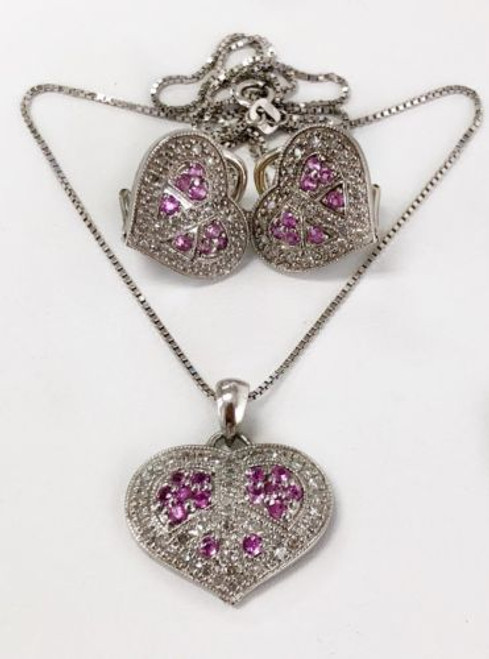 14k White Gold Diamond & Pink Sapphire Heart Earrings & Pendant Set Chain 1.68Ct