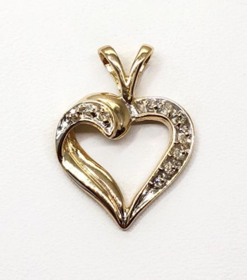 Natural Diamond 14K Solid Yellow Gold Heart Charm Pendant For Women