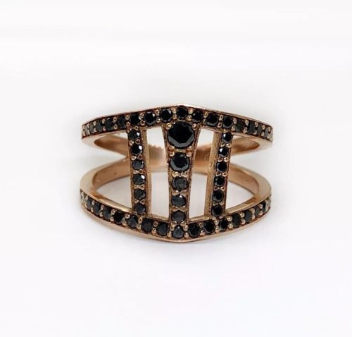 14K Solid Rose Gold 0.60 TCW Black Diamond Womens Wide Ring, Size 6.5