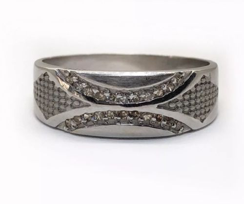 Mens 18k Solid White Gold 0.20 TCW Natural Diamond Ring 7.5 MM Size 10.25
