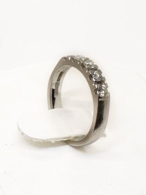 18K White Gold 5 Stones 0.40Ct Natural Diamond Wedding Anniversary Ring Size5.75
