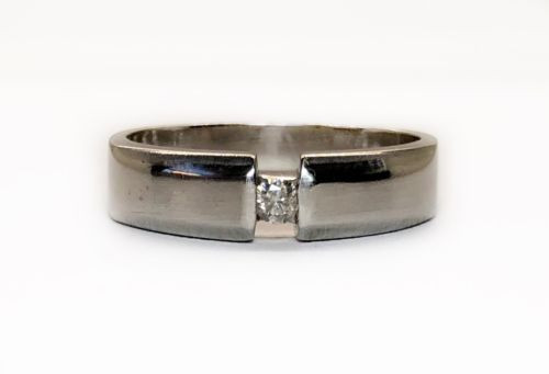 18k Solid White Gold Natural Diamond Solitaire Band Ring 5 mm Size 7 Unisex