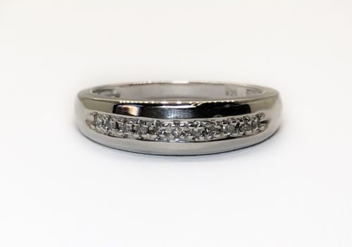 14K White Gold 0.10 TCW Round Diamond Wedding Band Ring Unisex Size 7