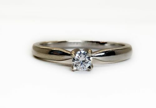 14K Solid White Gold Solitaire CZ Womens Engagement Ring Size 7.5 Bridal Ring