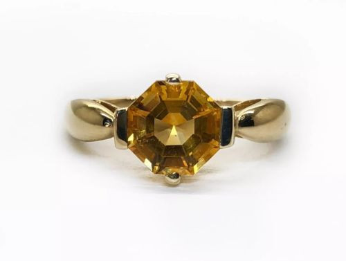Solid 14K Yellow Gold Natural Hexagonal Citrine Solitaire Ring Size 5