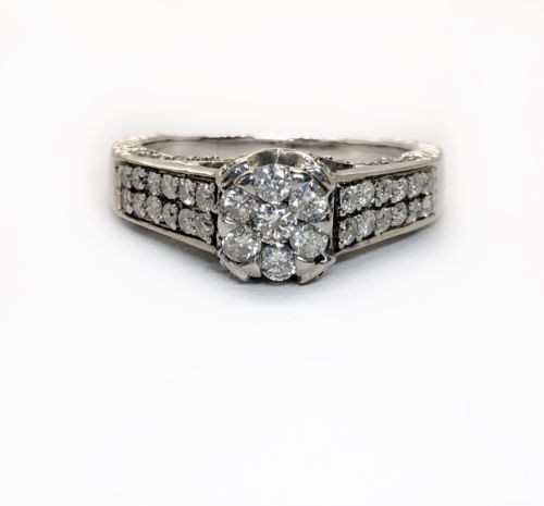 1.0 TCW Natural Round Diamond 14K Solid White Gold Engagement Ring For Women
