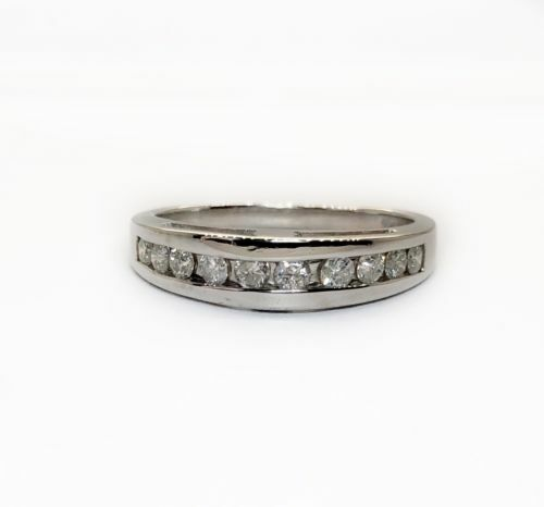 14K White Gold 0.50Ct Natural Round Diamond Channel Set Wedding Ring Band Unisex