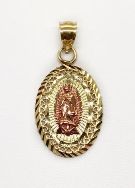 14K Solid Yellow &Rose Gold Heart Virgin Mary Guadalupe Oval Shape Charm Pendant