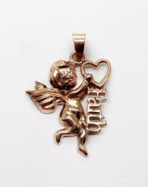 14K Solid Rose Gold Angel Faith Heart Charm Pendant 30 MM 3.8 Grams, Unisex