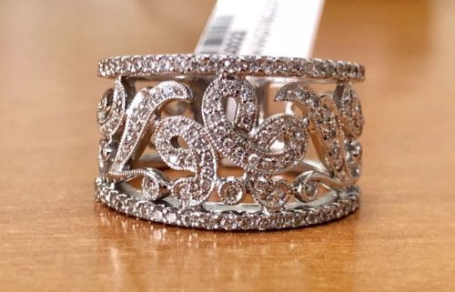 0.70 TCW Natural Diamond 18K Solid White Gold Womens Wide Cluster Ring 13 MM