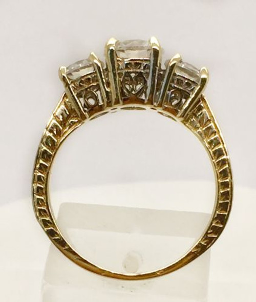 14k Solid Yellow Gold Three Stones Cz Engagement/Wedding Ring Size 7.5