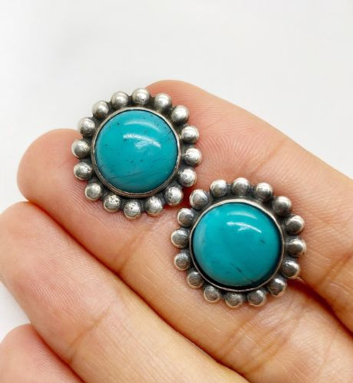 Vintage 925 Sterling Silver Natural Turquoise Flower Stud Earrings