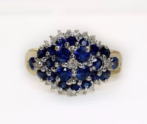 Vintage 14K Yellow Gold 0.80 Ct Natural Diamond Blue Sapphire Women Cluster Ring