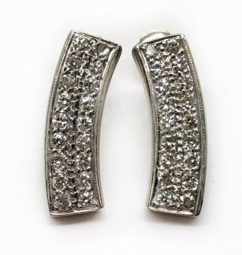 0.70 TCW Natural Diamond 18K Solid White Gold Screw Back Bar Earrings 19 MM