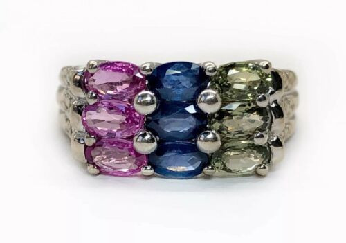 14K White Gold 1.06 TCW Natural Multi Color Sapphire & Diamond Cocktail Ring